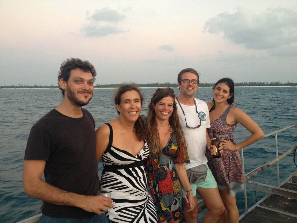 "The ""crew"". Left to right: Erwan Sola (University of KwaZulu-Natal), Isabel Silva (University Lúrio, Pemba / Vamizi Conservation and Research Project), Yara Tibiriçá (Zavora Marine Lab), Manuel Malaquias (University Museum of Bergen), and Joana Trindade (Vamizi Conservation and Research Project)"