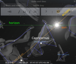 The sun in Capricornus seen from Rome 45 years BP according to Stellarium.