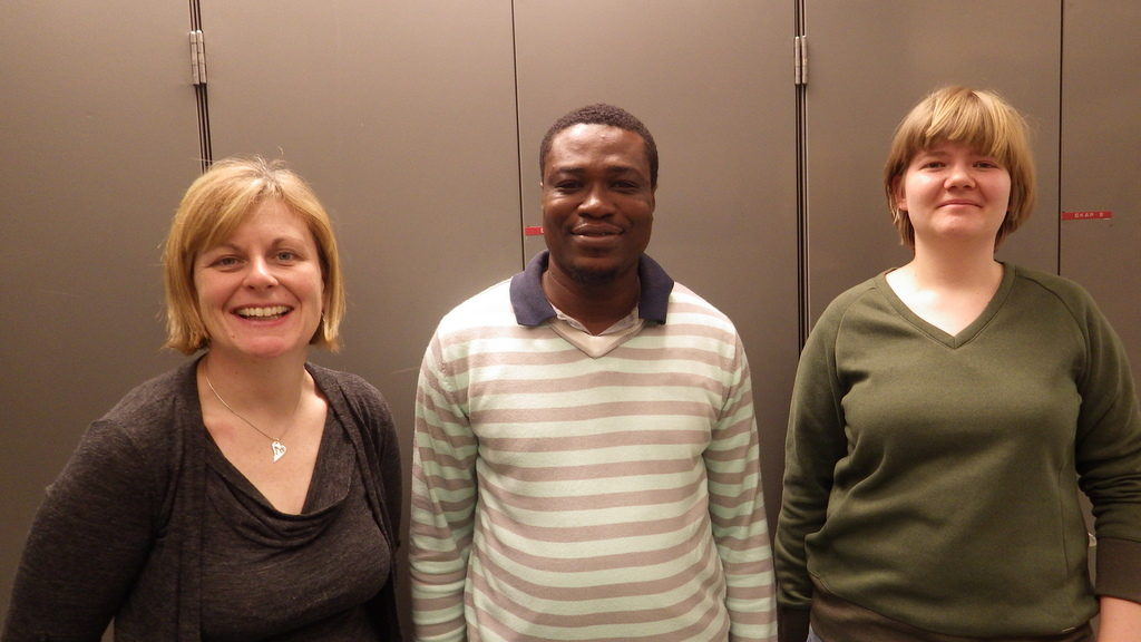 From the left we have Kate from Wales, Lloyd from Ghana, and Polina from Russia