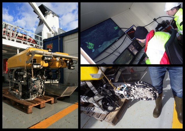 The ROV Aglantha, inside the Blue Box, and sponge-capturing device